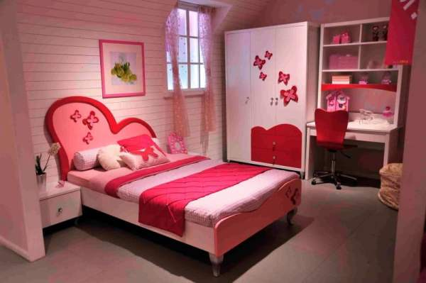 bedroom-interior-popular-pink-headboard-single-bed-in-tiny-girls-bedroom-design-ideas-with-bright-colors-furnitures-color-as-well-as-great-pink-portray-frames-as-beautiful-bedroom-wall-decor-in