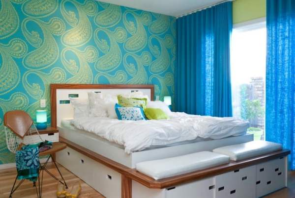fetching-good-color-scheme-for-teenage-girl-bedroom-with-blue-curtain-designs