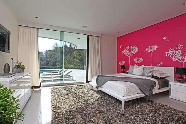 modern-bedroom-with-pink-wall-and-white-trees
