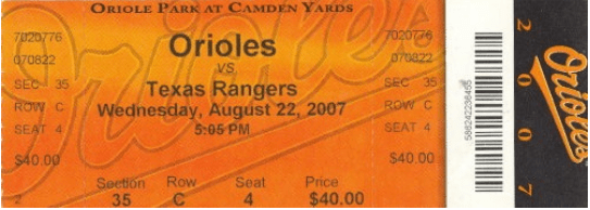 1-Camden Yards ticket 2