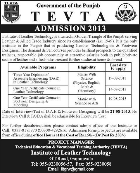 Admissions open in TEVTA