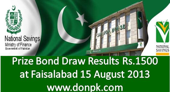 online prize bond Results of Rs. 1500 15th August 2013