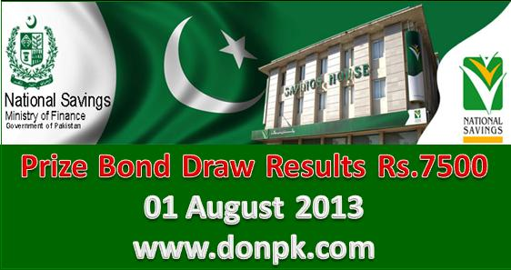 7500 bond Results, 01 August 2013 Bond Results