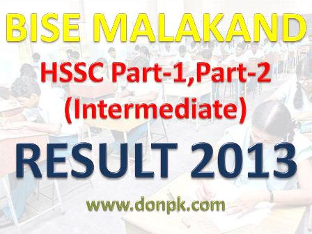 Bise Malakand Board Intermediate HSSC Result 2013