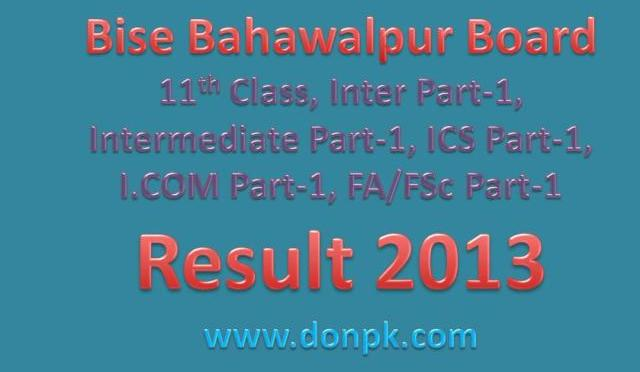 Bahawalpur Board I.com Part 1 Result 2013