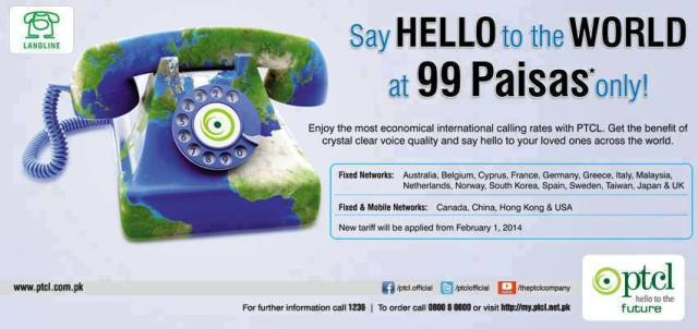Lowest International Calls from Pakistan through PTCL