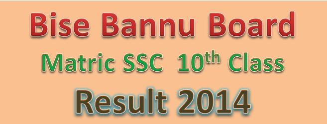 matric 10th class result 2014 bise bannu board