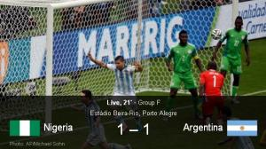 Nigeria vs Argentina live Match streaming (Highlights) 25 June 2014