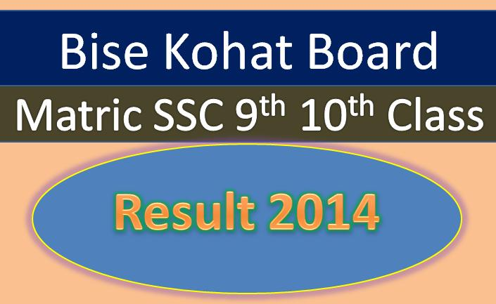 online Bise Kohat Board matric result 2014