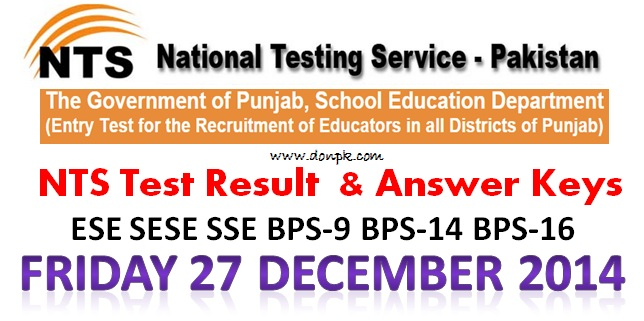 Educators NTS written Test Result 27 Dec