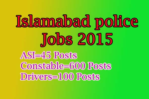 Asi constable driver jobs in Islamabad police