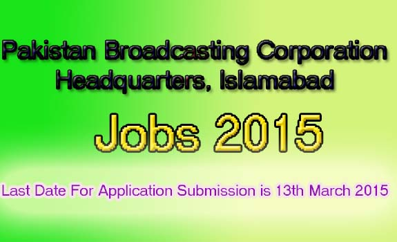 pakistan broadcasting company jobs 2015