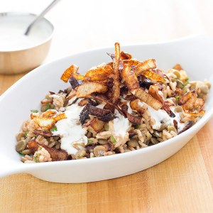 lentils rice with fried onions