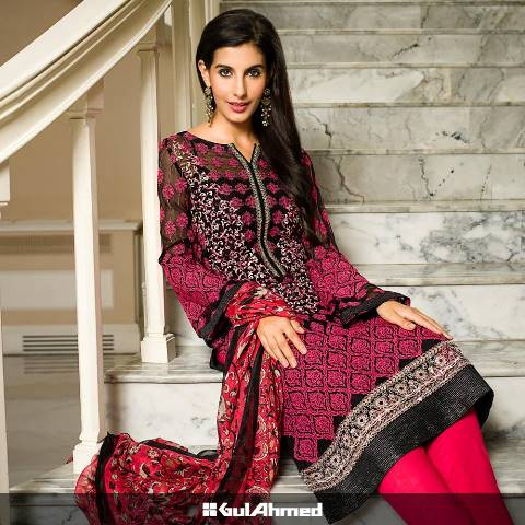 Gul Ahmed Premium Embroidered Chiffon Collection 2015