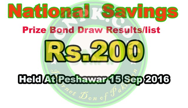 Prize bond 200 List draw result Peshawar 15 September 2016