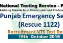 Rescue 1122 NTS Test Result Answer Keys 15th October 2016