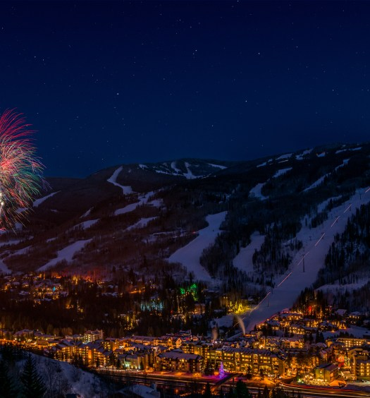 Fireworks during Vail's 50th Anniversary Celebration. In Vail, CO.