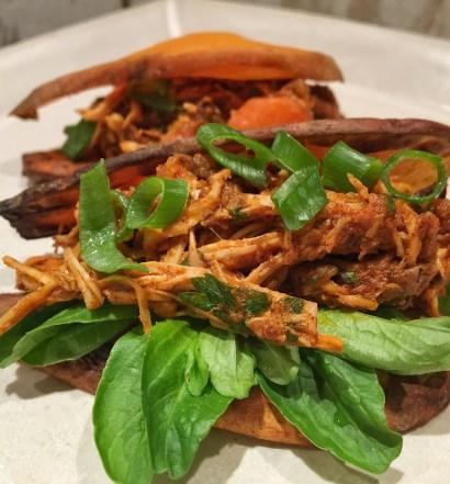 Sanduíche de batata doce com frango