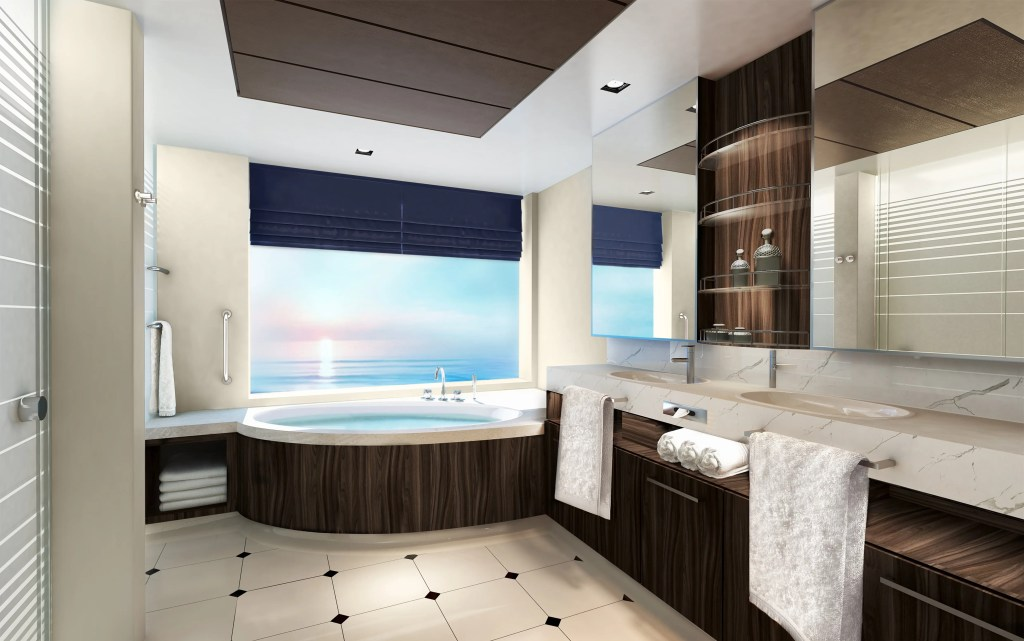 Norwegian Encore -The Haven Two-Bedroom Family Villa - Bathroom Rendering