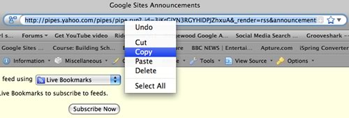 Copy URL of RSS feed from Google Sites 'announcements' page generated by Yahoo! Pipes
