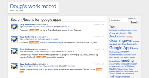 Doug's work record - search for 'Google Apps'