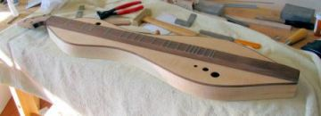 A freshly fretted dulcimer by Doug Berch