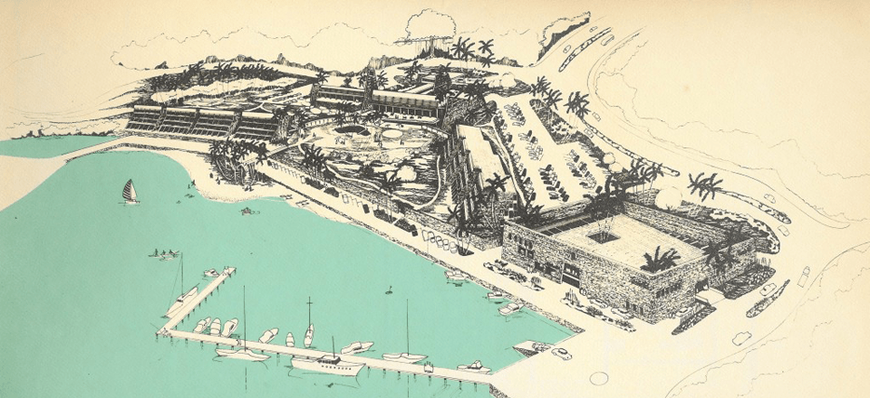 Aerial perspective by Douglas Snelling for Tassiriki Park, an unbuilt Pacific Island resort concept (circa 1971).
