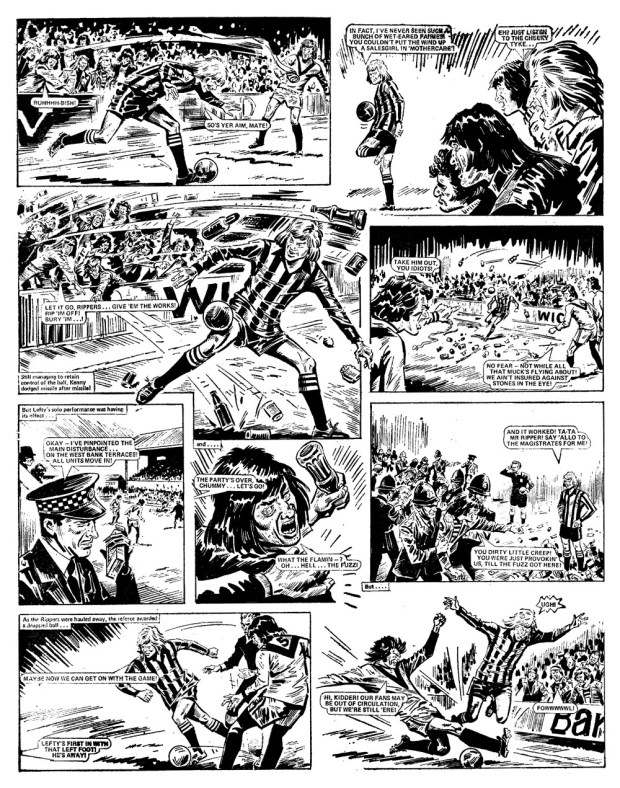 """A controversial page from """"Look out for Lefty"""" which contributed to the furore over Acton and eventually saw the comic banned. Art by Tony Harding."""