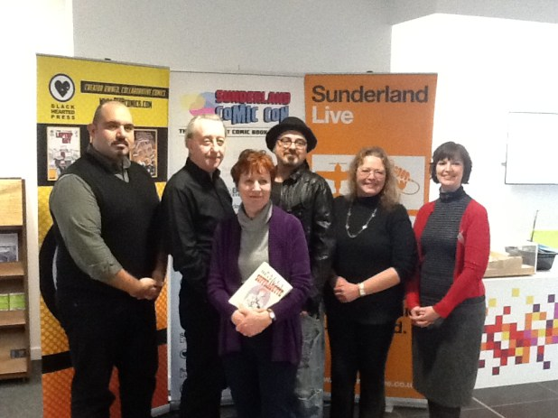 Sha Nazir of Black Hearted Press, Bryan Talbot, Mary Talbot, Dr. Mel Gibson and Jessica Regnart of Sunderland Live at the launch event for Sunderland Comic Con earlier today. Photo: Sunderland Comic Con.