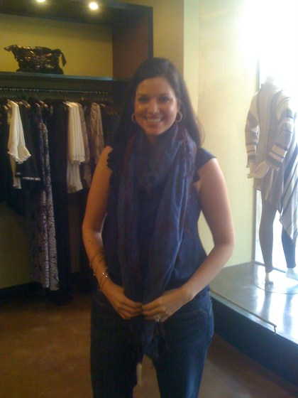 Jamie Models the Denim/Peppercorn Scarf - $216 at Shiki.