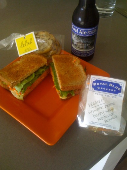 Royal Blue Veggie Sandwich - $5.50, Delish Bag of Cookies - $3.50