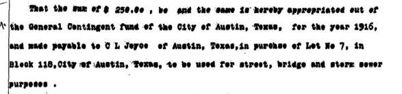 Austin City Council agenda item, Jan. 6, 1916