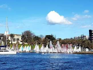 The fleet of boats on shore at the Spring Sail event in August, hosted by the Royal Geelong Yacht Club.