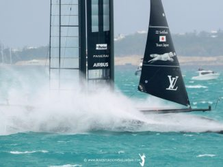 Softbank Team Japan sailing in strong winds.