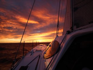 Offshore sunsets on the way across the Tasman.