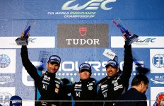 77 DEMPSEY Patrick (USA) LONG Patrick (USA) SEEFRIED Marco (GER) PORSCHE 911 RSR team Dempsey Proton racing ambiance podium during the 2015 FIA WEC World Endurance Championship, 6 Hours of Fuji from October 8th to 11th  2015, at Oyama, Japan. Photo Florent Gooden / DPPI