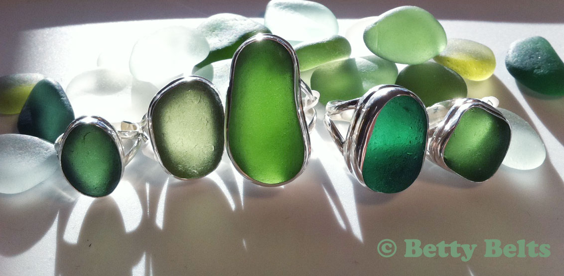 CLASSIC Double bezel sea glass rings in shades of green, Italian sea glass!