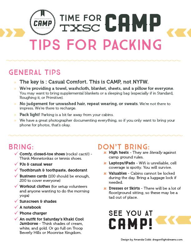 TxSC Camp 2015 packing list