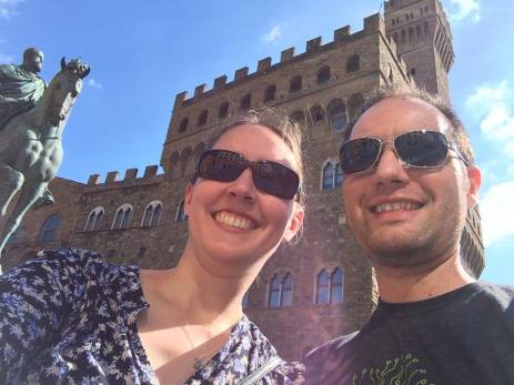 In front of Palazzo Vecchio in Florence.