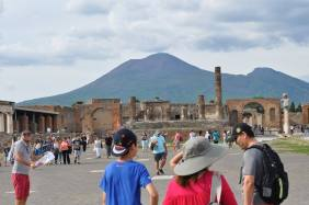 A bit of Pompeii with the volcano in the background.