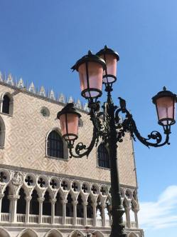 Rose colored lampposts in Venice.