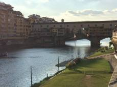 The Ponte Vecchio over the river Arno in Florence.