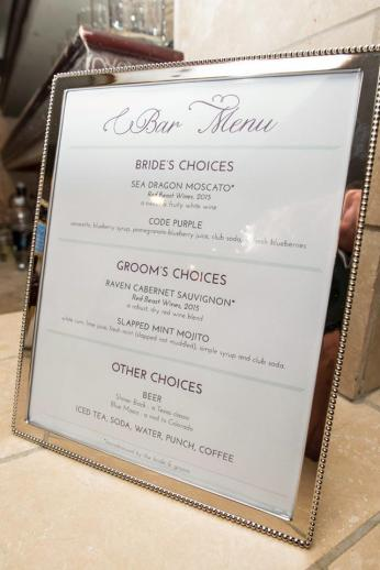 The menu for our open bar.