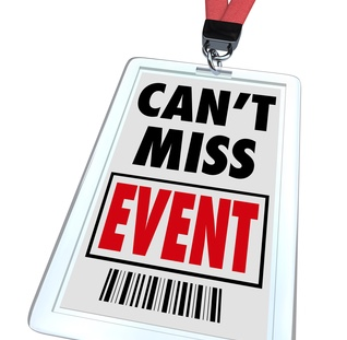 A badge and lanyard with printed pass reading Can't Miss Event, a message encouraging people to register for an important conference, convention or other special occasion