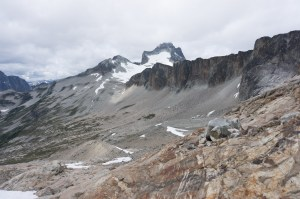 Talus traverse toward Redoubt
