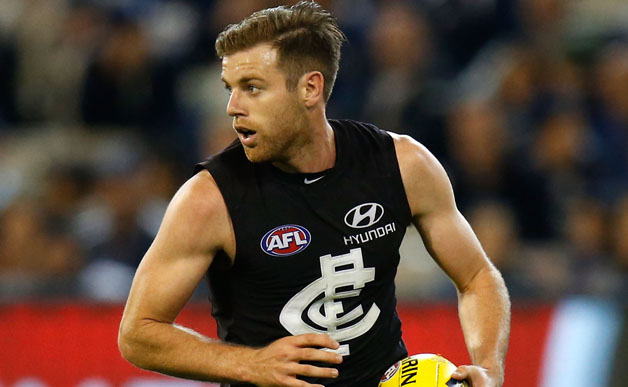 Sam Docherty of the Blues in action during the 2015 AFL Round 05 match between the Carlton Blues and the Collingwood Magpies at the MCG, Melbourne on May 01, 2015. (Photo: Michael Willson/AFL Media)