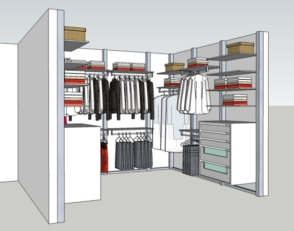Inloopkast maatwerk ontwerp door ervaren interieurarchitecten.