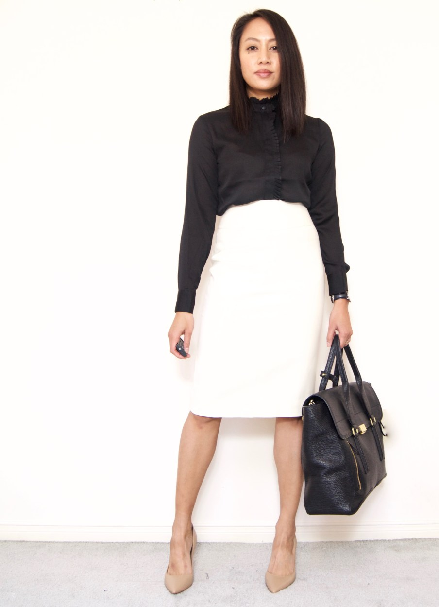 J.Crew Pencil Skirt + Winter white pencil skirt / Banana Republic Ruffle Trim Blouse + Ann Taylor Mila Pumps + 3.1 Phillip Lim Pashli Satchel