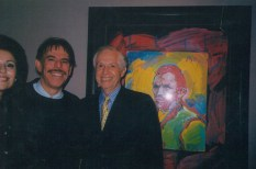 Artist Peter Max, Jenard Gross with Peter Max's painting of Van Gogh