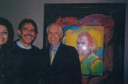 Artist Peter Max, Jenard Gross with Peter Max's painting of Van Gogh